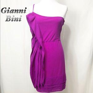 NWT-Gianni Bini-Fuschia one shoulder dress L